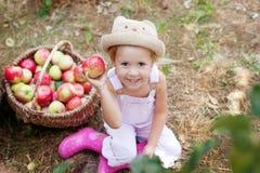 Ein kleines Mädchen, das einen Apfel im Garten isst Stockbilder