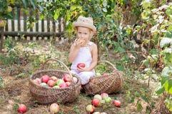 Ein kleines Mädchen, das einen Apfel im Garten isst Lizenzfreie Stockbilder