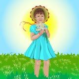 Ein kleines Mädchen in der Mütze mit Blumen. Stockfoto