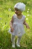 Ein kleines Mädchen geht glücklich unter dem Löwenzahn Stockfotos