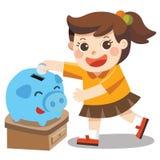 Ein kleines Mädchen glücklich zu Rettungsgeld im blauen Sparschwein vektor abbildung