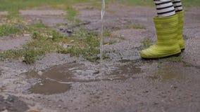 Ein kleines Mädchen im regnerischen Wetter gießt in eine Pfütze des Wassers von einer Gießkanne stock video