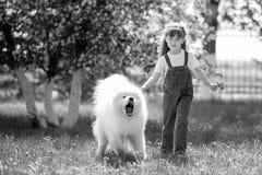 Ein kleines Mädchen mit einem großen, verärgerten, aggressiven Hund Lizenzfreie Stockfotografie