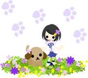 Ein kleines Mädchen und ein Hund Lizenzfreies Stockbild