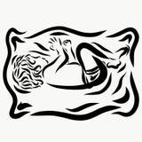 Ein kleines schlafendes Baby in einer Windel oder in Schlüpfer, zeichnend mit Schwarzem Lizenzfreie Stockbilder