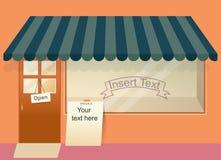 Geschäft mit leerer Fenster-Schablone Stockfotografie