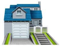 Ein konkretes Haus mit einer befestigten Garage Lizenzfreie Stockbilder