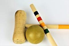 Ein Konzept Bild eines Krokettspiels stellte mit Ball ein Lizenzfreie Stockbilder