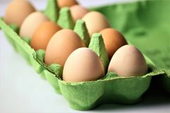 Ein Konzept Bild einiger Eier in einem Kasten Lizenzfreie Stockfotografie