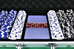 Ein Konzept Bild einiger Pokerchips in einem Kasino Stockfotos