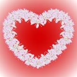 Ein Kranz von Blumen in Form eines Herzens Auch im corel abgehobenen Betrag Lizenzfreies Stockbild