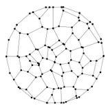 Ein Kreis bestanden aus Punkten und Linien Wireframe-Vektor-Illustration Art der Technologie-3D lizenzfreie abbildung