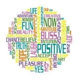 Ein Kreis gebildet aus positiven Wörtern heraus Lizenzfreie Stockfotos