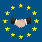 Ein Kreis von Sternen Flache Art Ursprüngliche und einfache Europa-Flagge EU händedruck lösung Flagge der Europäischen Gemeinscha stock abbildung
