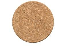 Ein Kreiskorkenbrett auf weißem Hintergrund Stockfotos