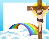 Ein Kreuz, ein Regenbogen und eine leere Schablone Lizenzfreies Stockfoto