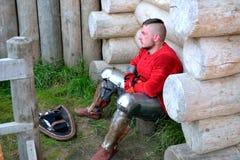Ein Krieger in Erwartung eines Kampfes Lizenzfreie Stockbilder