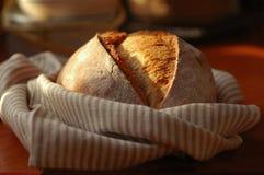 Ein krustiges Laib des frischen Brotes stockfotografie