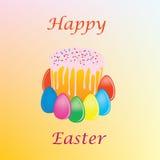 Ein Kuchen ein Ostern-Kuchen mit Farbeneiern Stockbilder