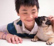 Ein Kuss von einem netten Haustierwelpen Lizenzfreie Stockfotos