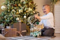 Ein lächelnder netter Junge verziert den Baum mit Grün, tadellose Bälle lizenzfreie stockfotografie