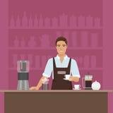 Ein lächelndes junger Mann barista, das Kaffee mit Kaffeemaschinenvektor im Caférestaurant zubereitet lizenzfreie abbildung
