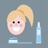Ein lächelndes Mädchen mit dem gelben Haar mit einer Zahnbürste und einer Zahnpasta Flacher Avatara Stockfoto