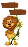 Ein Löwe, der ein Zeichenbrett hält lizenzfreie abbildung