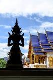 Ein Löwe sculptureSilhouette von einem Buddha und von Haupthalle Lizenzfreie Stockbilder