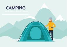 Ein Lager in den Bergen Bergsteiger fahne Flacher Karikaturillustrations-Vektorsatz Aktiver Sportkonzeptsatz stock abbildung