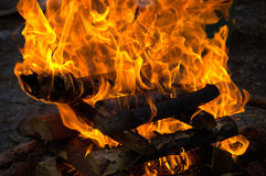 Ein Lagerfeuer beleuchtet mit einer Fackel Lizenzfreies Stockbild