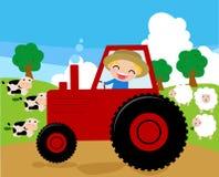 ein Landwirt, der einen Traktor arbeitet in seinem Bauernhof reitet stock abbildung