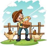 Ein Landwirt mit einem Korb von Eiern lizenzfreie abbildung