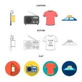Ein Laternenpfahl mit einem Zeichen, ein T-Shirt mit einer Aufschrift, ein Radio, ein Autodach Annoncierend, stellen Sie Sammlung Stockfotos