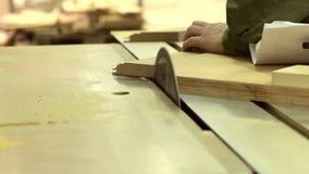 Ein laufendes Blatt auf einem Sägemaschine Sawing stock video