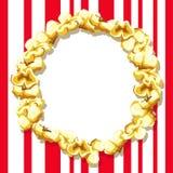 Ein leerer Rahmen für eine Aufschrift gemacht vom Popcorn Stockfotografie