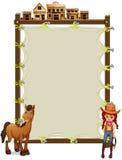 Ein leerer Signage mit einem Cowgirl und einem Pferd Stockfoto
