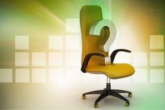 Ein leerer Stuhl mit Fragezeichen Stockfotografie