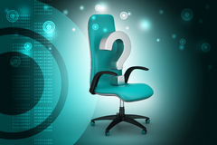 Ein leerer Stuhl mit Fragezeichen Stockfotos