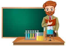 Ein Lehrer für Wissenschaft im Klassenzimmer lizenzfreie abbildung