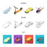 Ein lenkbares, ein Kinderroller, ein Taxi, ein Hubschrauber Gesetzte Sammlungsikonen des Transportes in der Karikatur, Entwurf, f Lizenzfreies Stockbild
