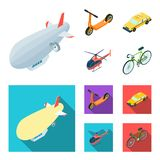 Ein lenkbares, ein Kinderroller, ein Taxi, ein Hubschrauber Gesetzte Sammlungsikonen des Transportes in der Karikatur, flaches Ar Stockbilder