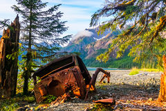 Ein LKW verloren zur Wildnis Stockfotos