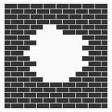 Ein Loch in der Wand, Ziegelsteine, Steinmauervektorikone auf weißem Hintergrund Flaches Design Stockfoto