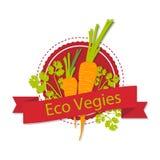Ein Logo mit einem Bild von Karotten und von Wörter ` Eco-vegies ` Stockbild