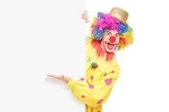 Ein lustiger Zirkusclown, der hinter einer Platte und einem Gestikulieren aufwirft Stockbilder