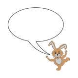 Ein lustiges Karikaturkaninchen mit einer Spracheblase Stockbild