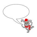 Ein lustiges Weihnachtskarikaturkaninchen mit einer Spracheblase Lizenzfreie Stockbilder