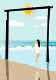 Ein Mädchen auf Strand lizenzfreie abbildung