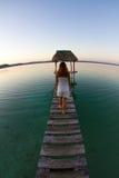 Ein Mädchen, das auf einem ruhigen See refelecting ist Stockfoto